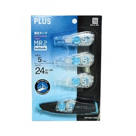 PLUS WHIPER MR2 CORRECTION TAPE WITH REFILL REFILLS (1+3) 5MM WH645R-31 BLACK