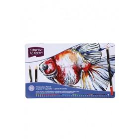 DERWENT ACADEMY WATERCOLOUR PENCILS - 36 LONG TIN BOX