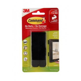 3M COMMAND BLACK LARGE PICTURE HANGING STRIP 4 SETS/PACK