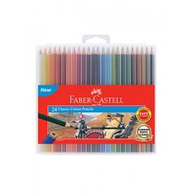 FABER-CASTELL CLASSIC COLOUR PENCILS - 24 LONG SLIM FLEXI CASE