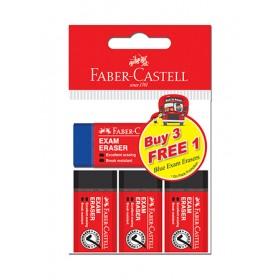 FABER-CASTELL EXAM ERASER 3PCS FREE 1 BLUE EXAM ERASERS 187016