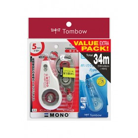 TOMBOW CORRECTION TAPE WITH REFILL PACK MONO <5MM X 12M> & MONO AIR TYPE BUNDLED