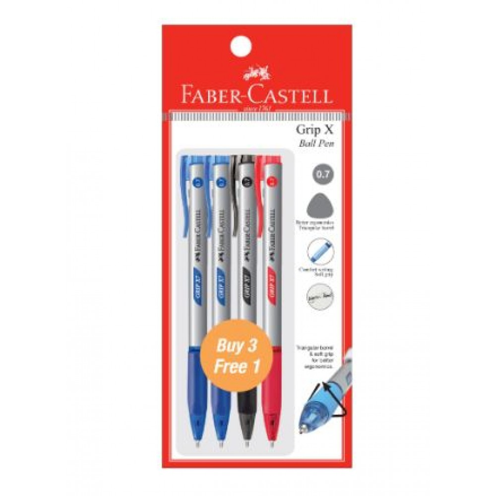 FABER-CASTELL Grip X Ball Pen 0.7mm 4 Pieces in Pack – 2 Blue, 1 Black & 1 Red