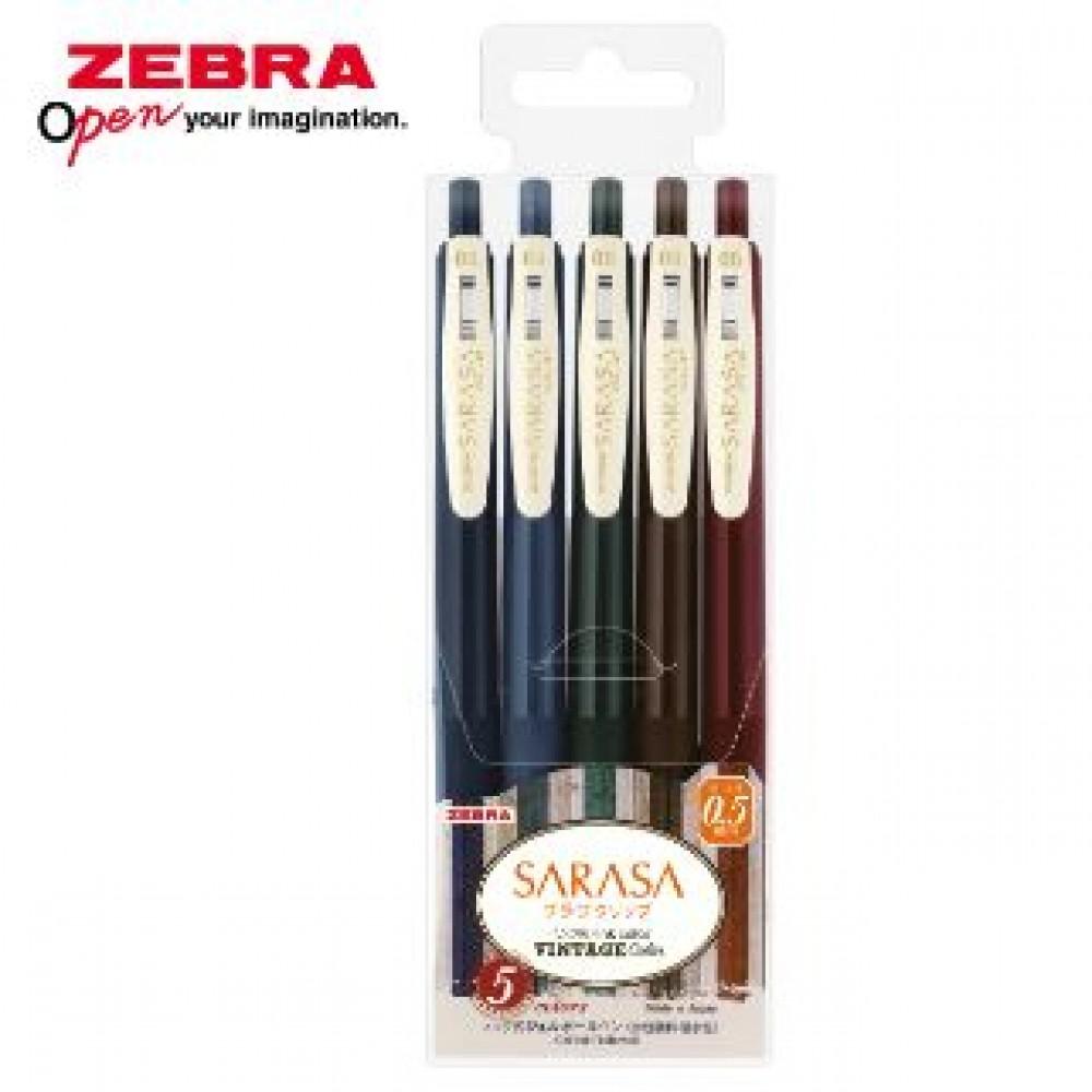 ZEBRA SARASA CLIP VINTAGE JJ15 GEL PEN 0.5MM 5'S SET 1