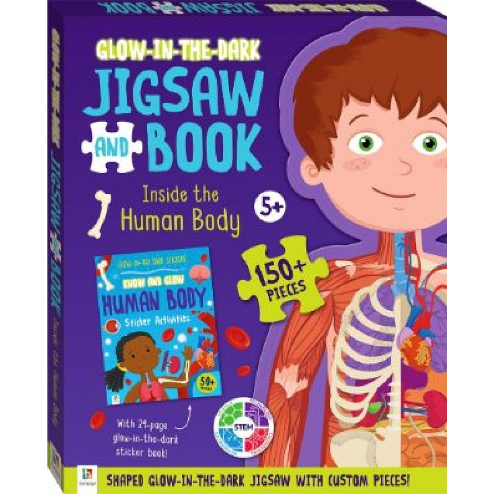 HINKLER 150PCS GLOW IN DARK JIGSAW AND BOOK  HUMAN BODY