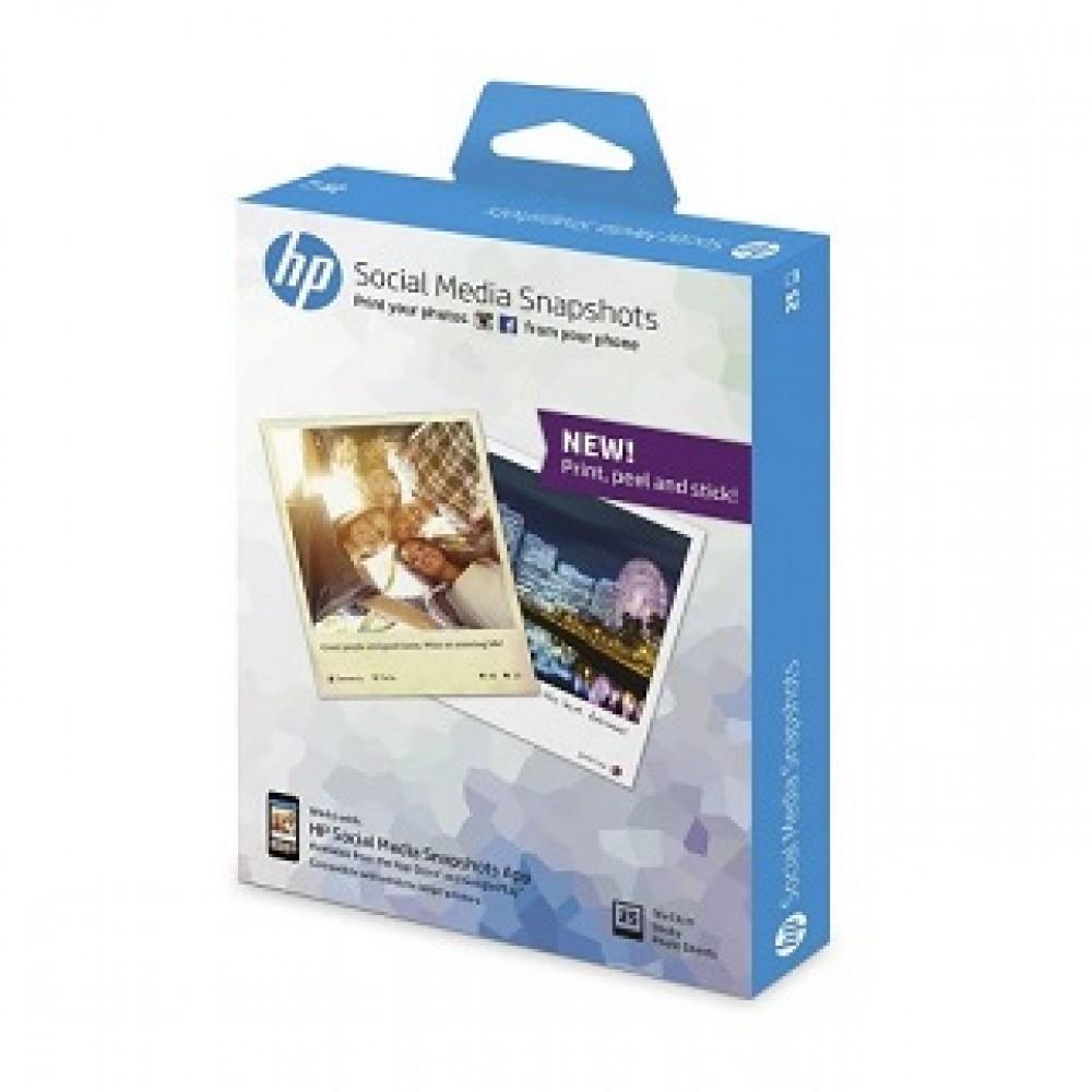 """HP K6B83A SOCIAL MEDIA SNAPSHOTS 4"""" X 5"""" REMOVABLE STICKY PHOTO PAPER 25'S"""