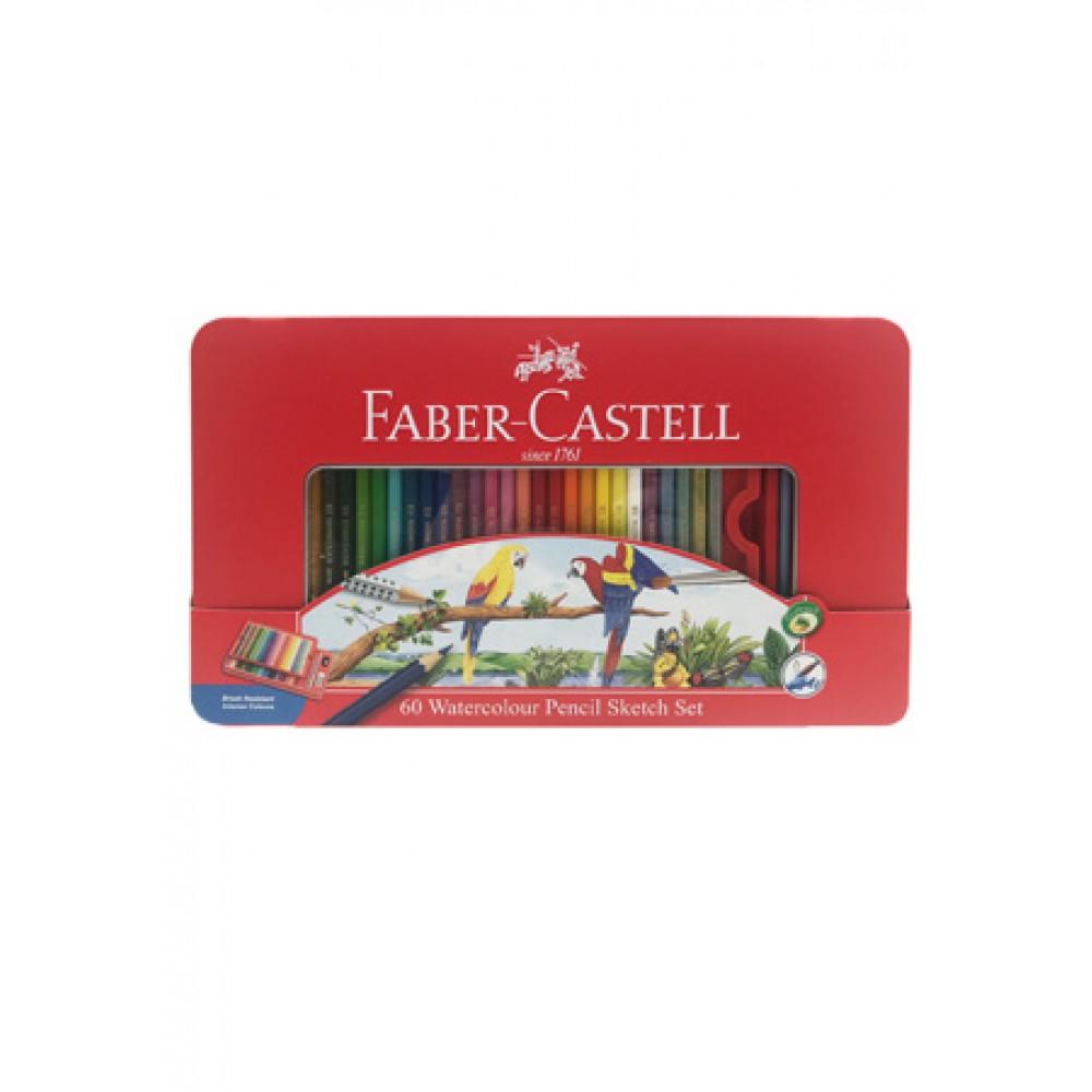 FABER-CASTELL WATERCOLOUR PENCIL SKETCH SET - 60 LONG (TIN BOX)