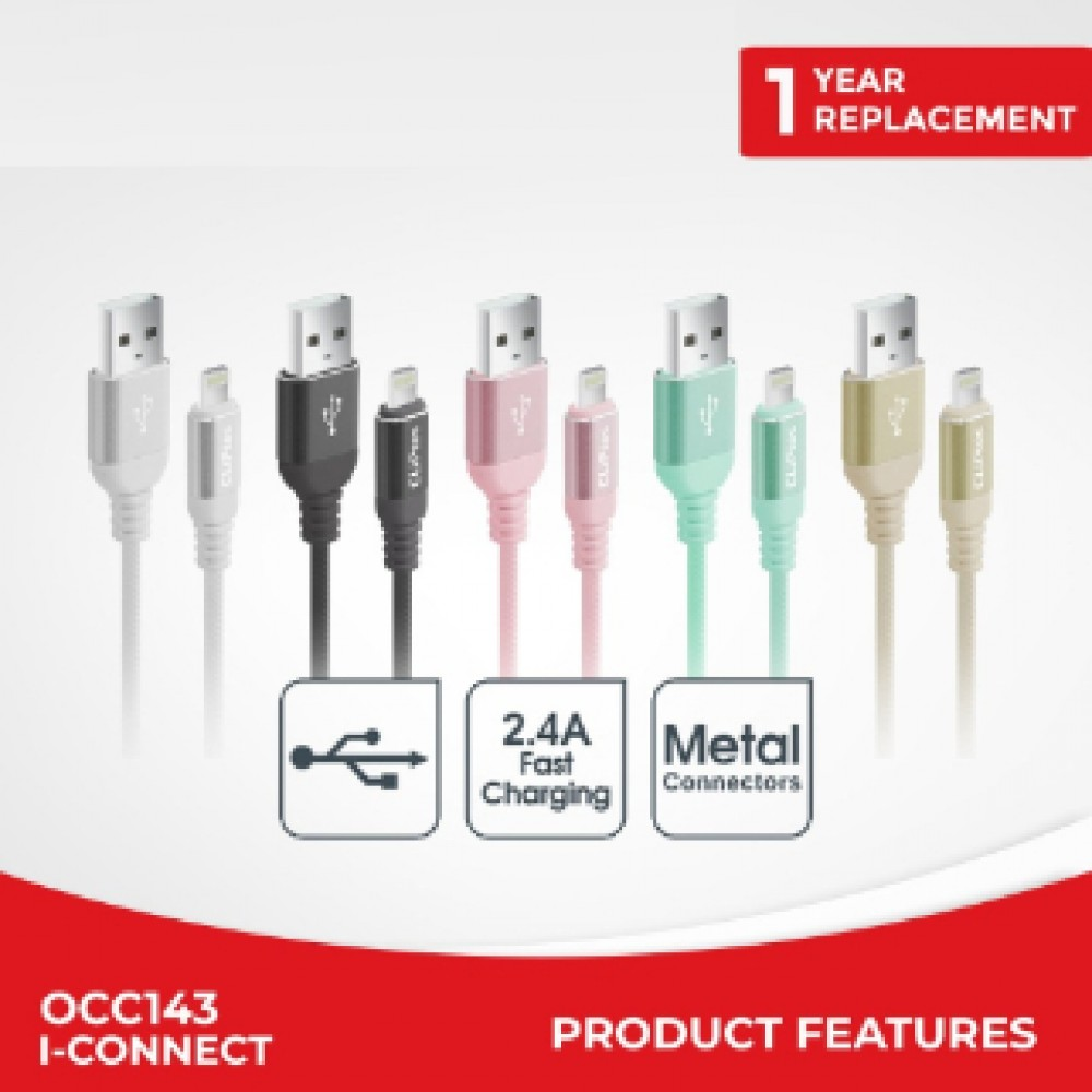 CLIPTEC OCC143 LIGHTNING CABLE 1METRE GREEN