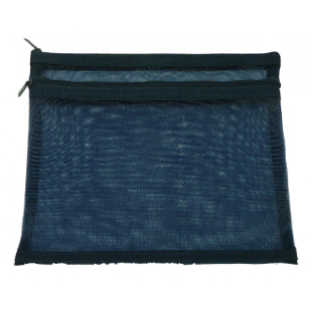 POP BAZIC TWO ZIPPER A5 MESH BAG DARK BLUE