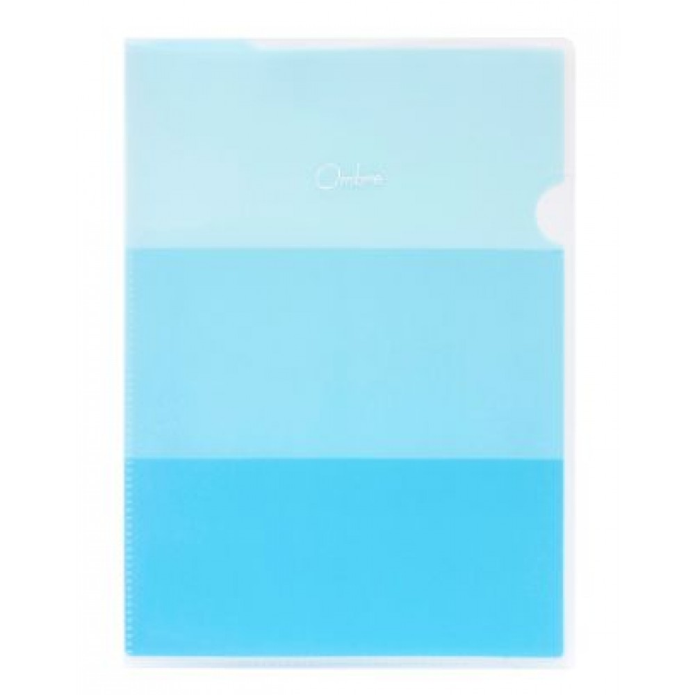 POP BAZIC OMBRE SERIES 2 POCKETS L SHAPE FOLDER A4 BLUE