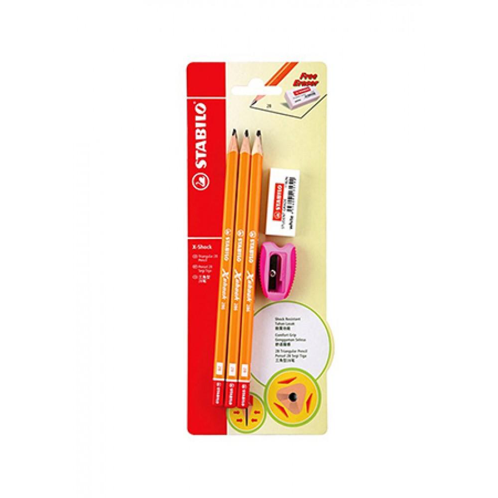 STABILO X-Shock 2B Pencil 6 Pieces + 1 Sharpener + 1 Eraser