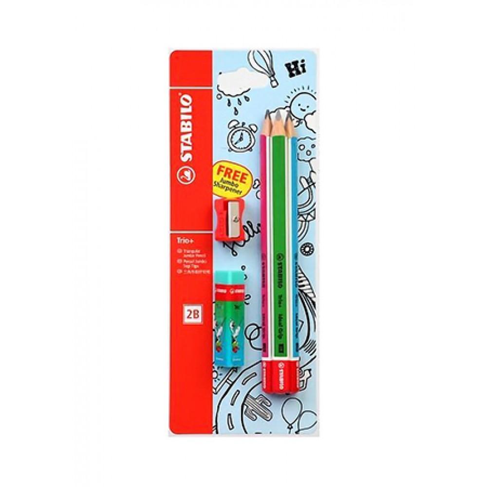 STABILO Trio+ Jumbo Triangular 2B Pencil (Pack of 3 Pencils)