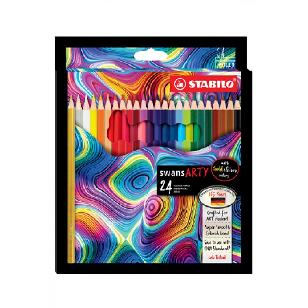 STABILO SWANS ARTY COLOURED PENCILS - 24 LONG