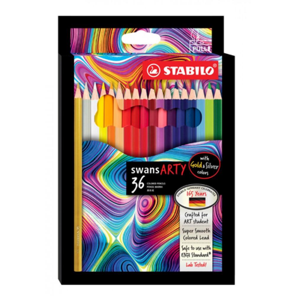 STABILO SWANS ARTY COLOURED PENCILS - 36 LONG