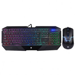 HP GK1100 MULTI COLOUR BACKLIT GAMING KEYBOARD& MOUSE COMBO - BLACK