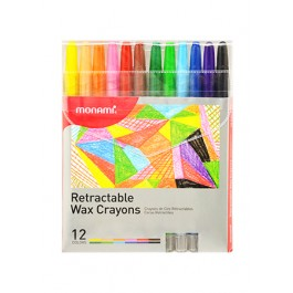 MONAMI RETRACTABLE WAX CRAYONS - 12 COLOURS