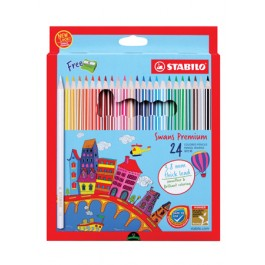 STABILO SWANS PREMIUM COLOURED PENCILS 3.8MM LEAD - 24 COLOURS