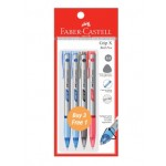 FABER-CASTELL Grip X Ball Pen 0.5mm 4 Pieces in Pack – 2 Blue, 1 Black & 1 Red