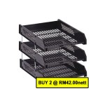 POP BAZIC  3 TIER PP LETTER TRAY BLACK