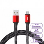 LANEX N15M AUTO CUT POWER MICRO USB CABLE WITH BREATHING LED 1.2METRE RED