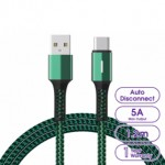 LANEX P15C AUTO CUT POWER 5A TYPE-C CABLE WITH BREATHING LED 1.2METRE GREEN