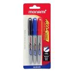 Monami Acculiner Permanent Marker Fine 1.5mm 3s (Black,Blue.Red)