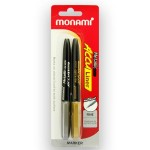 Monami Acculiner Metallic Marker 2s  Silver & Gold