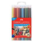 FABER-CASTELL CLASSIC COLOUR PENCILS - 12 LONG SLIM FLEXI CASE