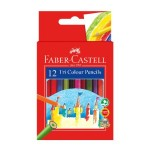 FABER-CASTELL TRI COLOUR PENCILS - 12 SHORT
