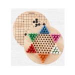 2 IN 1 WOODEN HEXAGON CHECKERS & GO GAMES