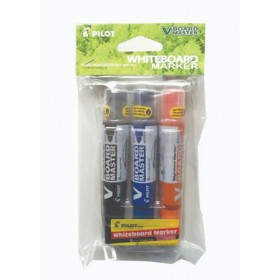Pilot V Board Master Whiteboard Marker Set of 3 Medium (Black,Blue,Orange) with PVC Pouch