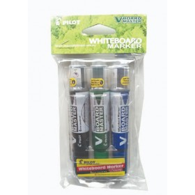 Pilot V Board Master Whiteboard Marker Set of 3 Medium (Black,Blue,Green) with PVC Pouch