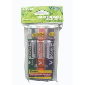 Pilot V Board Master Whiteboard Marker Set of 3 Medium (Green,Orange,Violet) with PVC Pouch