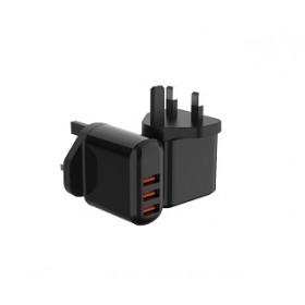 LANEX 3.4A 3 USB PORTS WALL CHARGER WITH DIGITAL DISPLAY (UK PLUG)