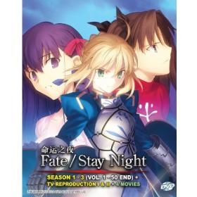 FATE/STAY NIGHT 命运之夜 SEASON 1 - 3 (VOL. 1 - 50 END) + TV REPRODUCTION I & II + 4 MOVIES  (6DVD)