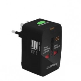 CLIPTEC GZJ131 UNIVERSAL TRAVEL ADAPTER WITH 2 USB PORTS