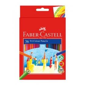 FABER-CASTELL TRI COLOUR PENCILS - 36 LONG