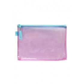 POP BAZIC PVC COLOUR TRANSPARENT ZIPPER BAG A5 PINK