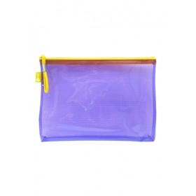 POP BAZIC PVC COLOUR TRANSPARENT ZIPPER BAG A5 PURPLE
