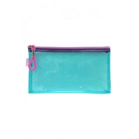 POP BAZIC PVC COLOUR TRANSPARENT ZIPPER BAG 230*130MM BLUE