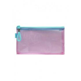 POP BAZIC PVC COLOUR TRANSPARENT ZIPPER BAG 230*130MM PINK