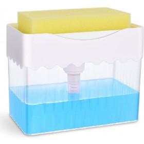 ABS SOAP PUMP DISPENSER WITH SPONGE SET WHITE