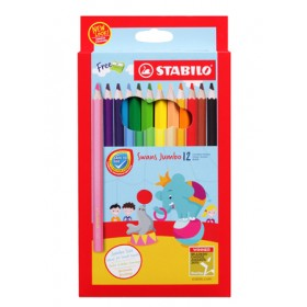 STABILO SWANS JUMBO COLOURED PENCILS - 12 COLOURS