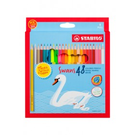 STABILO SWANS WITH NEON & METALLIC COLOURED PENCILS - 48 COLOURS
