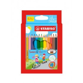 STABILO SWANS COLOURED PENCILS - 12+1 SHORT