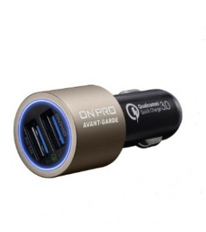 ONPRO GT-2PQC3 DUAL USB CAR CHARGER GOLD