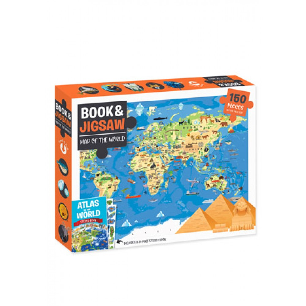 HINKLER JIGSAW MAP OF THE WORLD 150PCS AND BOOK