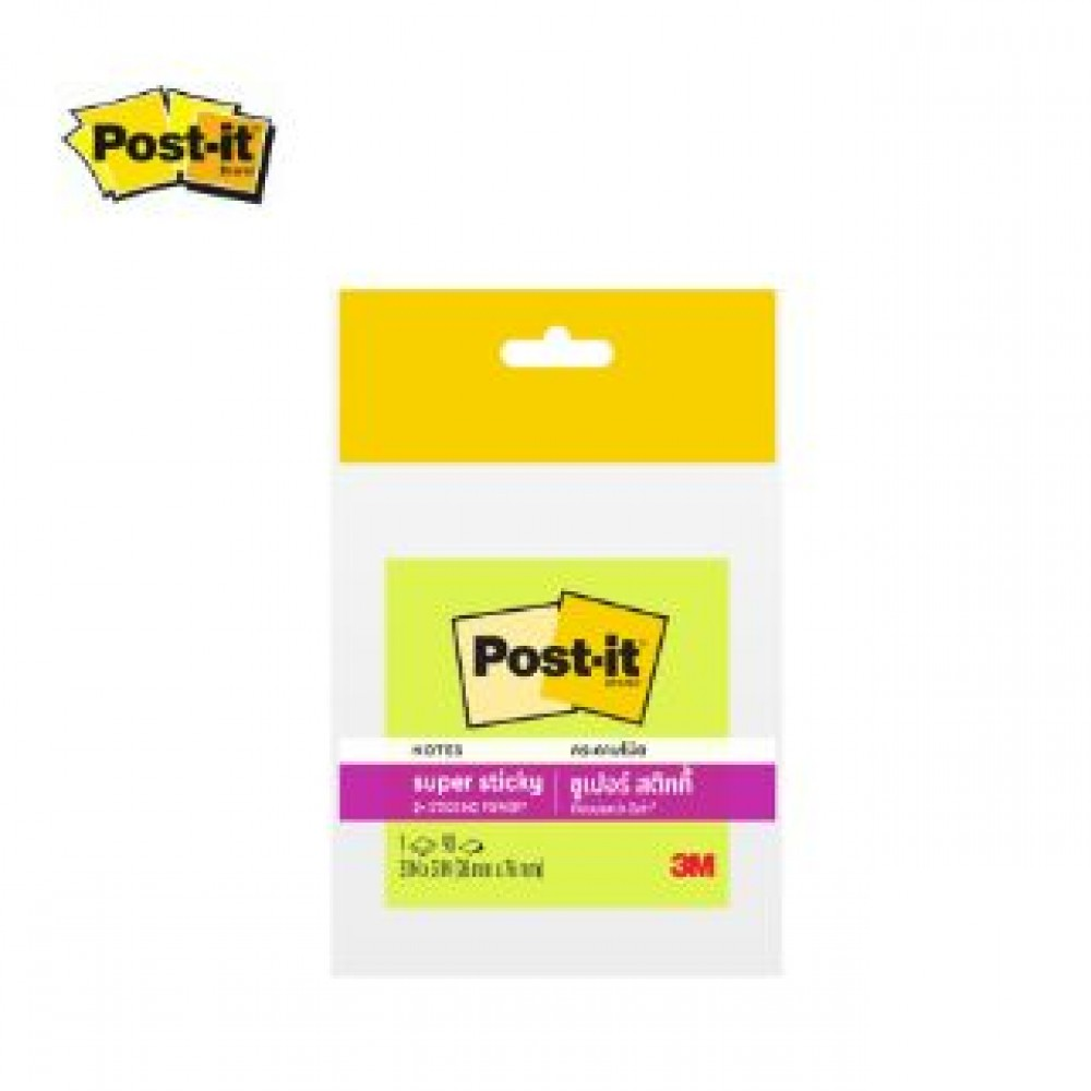 """3M POST-IT SUPER STICKY 3X3"""" 90'S 654-1SSNG NEON GREEN"""