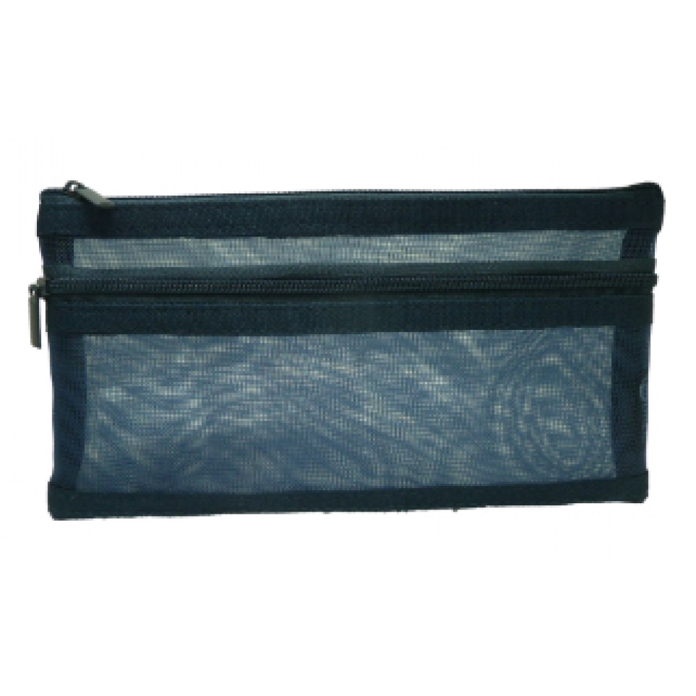 POP BAZIC TWO ZIPPER PENCIL MESH BAG DARK BLUE