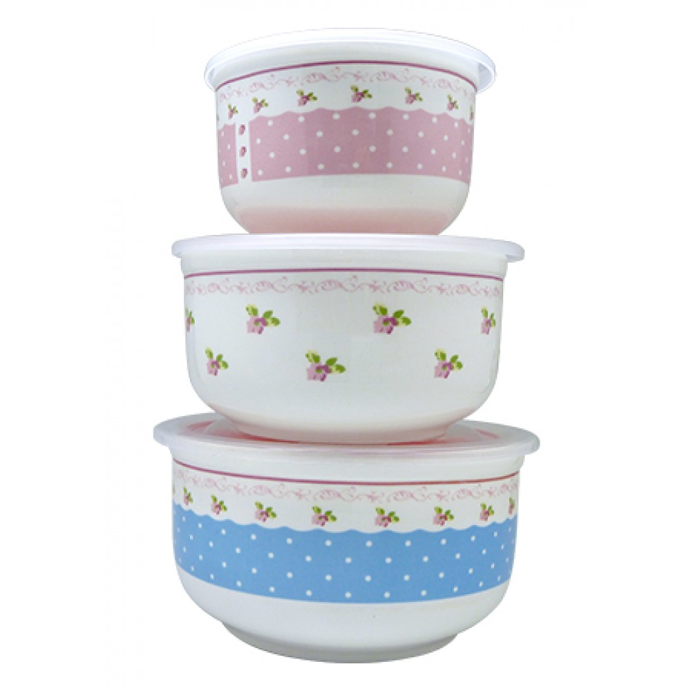 CERAMIC BOWL SET WITH LID 3IN1 CY-7653